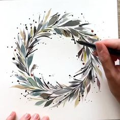 Eyebrow Shaping Discover Green painted wreath Leaves art Home atmosphere decorations Watercolor Flowers Tutorial, Wreath Watercolor, Watercolour Tutorials, How To Watercolor, Gold Watercolor, Painting Tutorials, Watercolor Painting Techniques, Watercolor Paintings, Watercolor Art Lessons