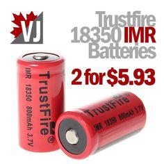 POWER UP! - Trustfire IMR 18350 800mAh - 2 for $5.93 +FS