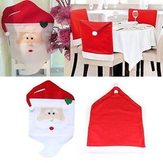 4Pcs Santa Claus Red Hat Chair Cover For Christmas Dinner Party Table Decoration