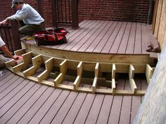 Round Wood Deck steps | ... set of stairs. Image courtesy of Breyer Construction and Landscape