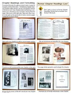 Suggestions for formatting your Family History book.