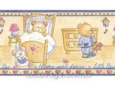 Faixa Decorativa Figuras Bobinex (Nacional)  - Ursinhos Twister (Azul Jeans/ Colorido) - COLA GRÁTIS