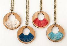 Items similar to Embroidered Wood Necklace / Eco Friendly / Hand Dyed Thread / Red / Large Round Pendant on Etsy Wood Necklace, Wooden Earrings, Wooden Jewelry, Handmade Jewelry, Diy Schmuck, Schmuck Design, 3d Laser Printer, Laser Cutter Ideas, Laser Cut Jewelry