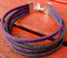 Purple And Grey Suede Friendship Bracelet. 10% Goes To Charity.