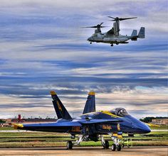 V-22 Osprey and F/A-18 Blue Angels Aircraft