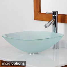 Shop for Elite Frosted Square Tempered Glass bathroom Sink With Faucet Combo…