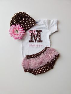 Personalized Monogram Onesie Ruffle Butt Bloomers Pink Brown Polka Dot With Beanie