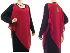 Lagenlook knitted overlay top, sweater, strap tunic for women - lagenlook plus sizes - in red. $69.00, via Etsy.