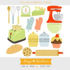 Kitchen Clipart // Cupcake Clipart // Kitchen Utensils Clipart // Baking Clipart // Instant Download