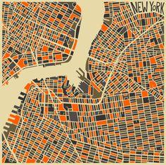 Abstract Maps Le travail cartographique de l'artiste autodidacte torontois Jazzberry Blue est impressionnant. À la limite de l'abstraction, les grandes métropoles comme Paris, New York ou Londres, sont représentées autour des axes qui les composent et les structurent : rues ou fleuves.