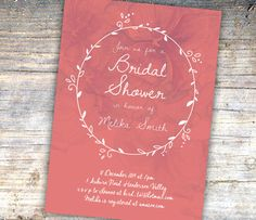Printable Bridal Shower Invitation  Peach by SixDaysCreations