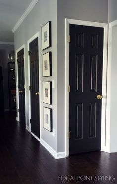 Home Interior Paint Black Doors 19 Ideas Painted Interior Doors, Black Interior Doors, Painted Doors, Interior Door Colors, Paint Doors Black, Grey Interior Paint, How To Paint Doors, Painted Bedroom Doors, Interior Door Styles