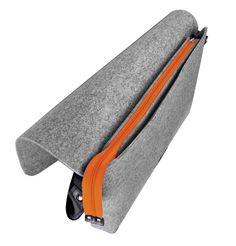 TORBA Z FILCU MEN 01 pomarańczowy zamek filcowa teczka (sprzedawca: purol design), do kupienia w DecoBazaar.com #orange #grayfelt #felt #bag #teczka #filz