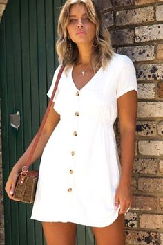 Casual Dress - Casual Sexy Deep V Neck Pure Color Single Breasted Mini Dresses Source by - Short Summer Dresses, Trendy Dresses, Casual Dresses For Women, Sexy Dresses, Mini Dresses, Elegant Dresses, Summer Outfits, Romantic Dresses, Cruise Outfits