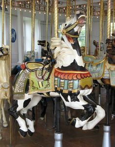 Rare pinto carousel horse, East Haven CT. Most carousel horses are painted solid color. Carrousel, Carosel Horse, Mime, Pierrot, Horse Fly, Amusement Park Rides, Wooden Horse, Painted Pony, Merry Go Round