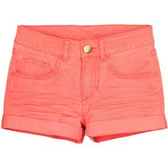 Twill Shorts $12.99 ($13) ❤ liked on Polyvore featuring shorts, bottoms, pants, elastic waist shorts, zipper shorts, cuffed shorts, elastic waistband shorts and stretch waist shorts