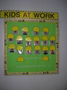 Clutter-Free Classroom has FREE tips & ideas to help teachers improve classroom organization & management.Enjoy teaching with less mess & less stress. Construction Bulletin Boards, Construction Theme Preschool, Under Construction Theme, Construction Business, Construction Birthday, Construction Design, School Themes, Classroom Themes, Classroom Organization