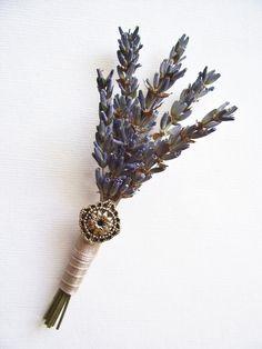 Dried Lavender Wedding Boutonniere. $13.00, via Etsy.