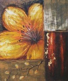 Tableau contemporain fleur jaune. Fleurs rouges en peinture.