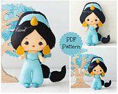 Jasmine. PDF pattern. Felt doll.
