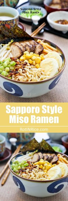 Hearty and flavorful Sapporo Style Miso Ramen topped with slices of teriyaki pork tenderloin, hard boiled eggs, bean sprouts, corn, and bamboo shoots. | http://RotiNRice.com