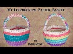 Easter Basket Loomigurumi Amigurumi Rainbow Loom Band Crochet Hook Only Лумигуруми Rainbow Loom Tutorials, Rainbow Loom Bands, Rainbow Loom Charms, Rubber Band Charms, Rubber Bands, Friendship Bracelets Designs, Bracelet Designs, Child Love, Easter Baskets