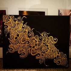 Henna Design – Painted Canvas – Metallic Gold on Black - Art Henna Canvas, Diy Canvas, Painted Canvas, Canvas Art, Canvas Crafts, Mandalas Drawing, Mandala Art, Henna Mandala, Mandala Tattoo