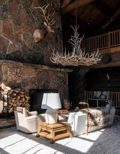 Located in Meeker, Colo., the ranch includes a roughly main house with eight bedrooms. Colorado Ranch, Colorado Homes, Ranch Style Decor, Log Cabin Kits, Log Cabins, Aspen House, Cabin Fireplace, Log Cabin Furniture, Guest Cabin