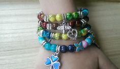 Handcrafted Bohemian wrap charm beaded bracelet