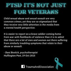 #survivor of child abuse and psychotherapist Dani Bostick on #ptsd -   http://www.huffingtonpost.com/dani-bostick/ptsd-its-not-just-for-veterans_b_8309184.html Child sexual abuse and sexual assault are very common crimes yet they are so stigmatized that they receive very little attention in the media from a mental health perspective. It is easier to report on a brave soldier coming home from war with flashbacks of violence than it is to admit that there are a lot of men and women out there…