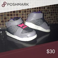Toddler Jordans - 6C Toddler shoes. Size 6C . Grey, black, a little pink and purple. Gender neutral . Excellent condition. Worn a handful of times. Jordan Shoes Sneakers
