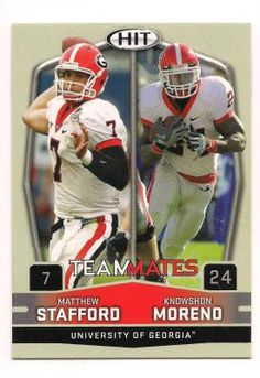 FREE SHIPPING Matthew Stafford/Knowshon Moreno 2009 Sage Hit Teammates Football Card