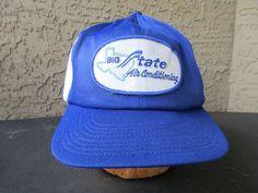 Big State Air Conditioning Truckers Cap, White Mesh w/ Blue Bill Snapback Hat #BaseballCap