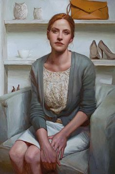 """Sara"" - Mary Sauer, oil on canvas, 2014 {female seated woman painting} marysauerart.com"