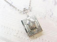 Silver Locket Necklace - The Silver Turtle BOOK LOCKET - Terrapin Turtle  ORIGINAL Jewelry by BirdzNbeez - Wedding Birthday Bridesmaids Gift f86ad6fa2c
