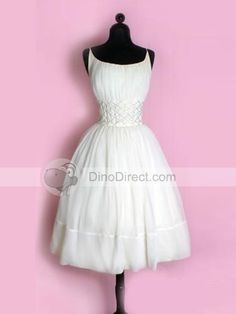 Spaghetti Straps Sash Short Bridal Gown Wedding Dress