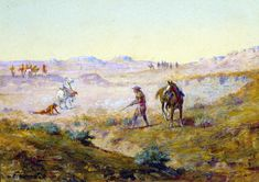 Buffalo Bill's Duel with Yellow Hand / Olaf Carl Seltzer - oil on board kp