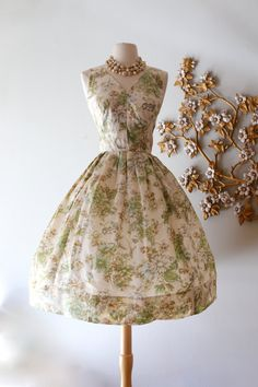 Vintage 1950s Watercolor Silk Floral Party Dress ~ Vintage 50s Larry Aldrich Floral Print Cocktail Party Dress by xtabayvintage on Etsy