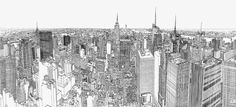 London-based artist Patrick Vale created a project titled Colossus -- a pen and ink illustration of New York City skyline viewed from the Rockefeller Center. Nyc Skyline, Skyline Von New York, Urban Sketchers, Time Lapse Film, New York City, Ville New York, Colossal Art, English Artists, Artistic Photography