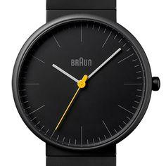 heb dit horloge veel gedragen. in het blauw;Braun BN0171 (black/black) watch by Braun. Available at Dezeen Watch Store: www.dezeenwatchstore.com