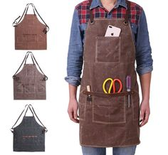 Waterproof Unisex Waxed Pockets Canvas Apron for Woman Men Chef Waiter Cafe Shop BBQ Hairdresser Woodworking Painting Aprons Welding Apron, Cheap Aprons, Painting Apron, Shop Apron, Leather Apron, Waxed Canvas, Canvas Canvas, Cafe Shop, Apron Pockets