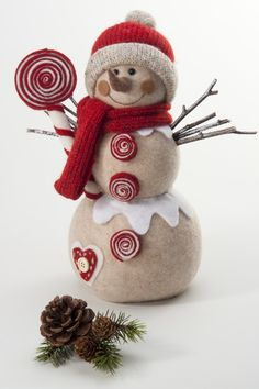 Found it at Wayfair - Lolli Snowman in Tan & Red Christmas Figurines, Felt Christmas, Christmas Snowman, All Things Christmas, Winter Christmas, Christmas Time, Christmas Ornaments, Snowman Decorations, Snowman Crafts
