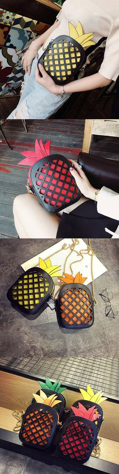 [$ 14.81]   Pineapple Shape Hollow Out Shoulder Bag Cartoon Crossbody Bag Phone Bag