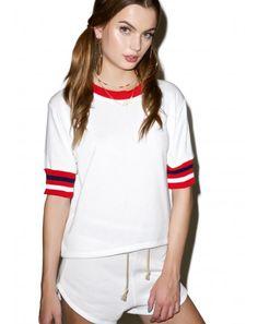 DollsKill: Cropped Varsity Sweatshirt