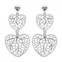Boucles d'oreilles pendantes en argent 2 coeurs filigranés suspendus et fermoir tige à poussette