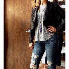 BlankNYC vegan leather jacket and jeans, tank by NationLTD and necklace by Zacasha
