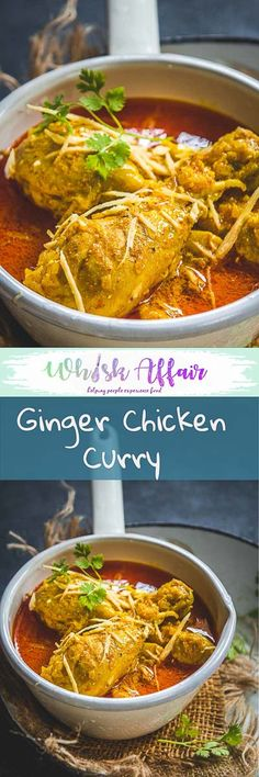 Indian Ginger Chicken Curry or Adraki Murgh is a spicy chicken curry with bold flavours of Ginger. Here is how to make it. #ChickenCurry #ChickenRecipes #IndianRecipes via @WhiskAffair