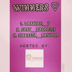 Instead of just one winner we've chosen 3  Congratulations to these lovely ladies  Please contact @yasiikinz to claim your prizes  Thank you to each and every one of you for your support   @Regrann from @yasiikinz -  ThankYou to everyone who entered I felt terrible choosing just one winner so we have decided to give vouchers to two runner ups! ThankYou to our generous sponsors For those that didn't win I promise many more AMAZE giveaways to come P.s the winners were chosen and showcased on…
