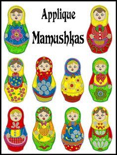 Russian doll Machine Embroidery Applique.