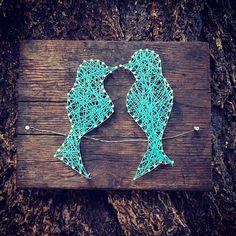 Love Birds Custom string art two love birds on a by TautlyTangled